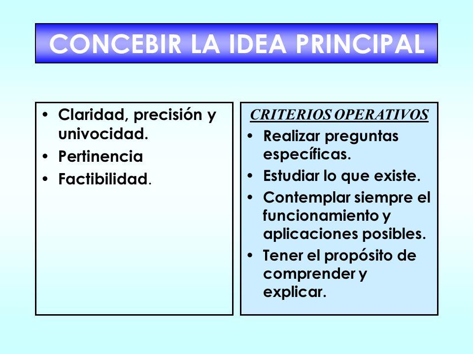 CONCEBIR LA IDEA PRINCIPAL