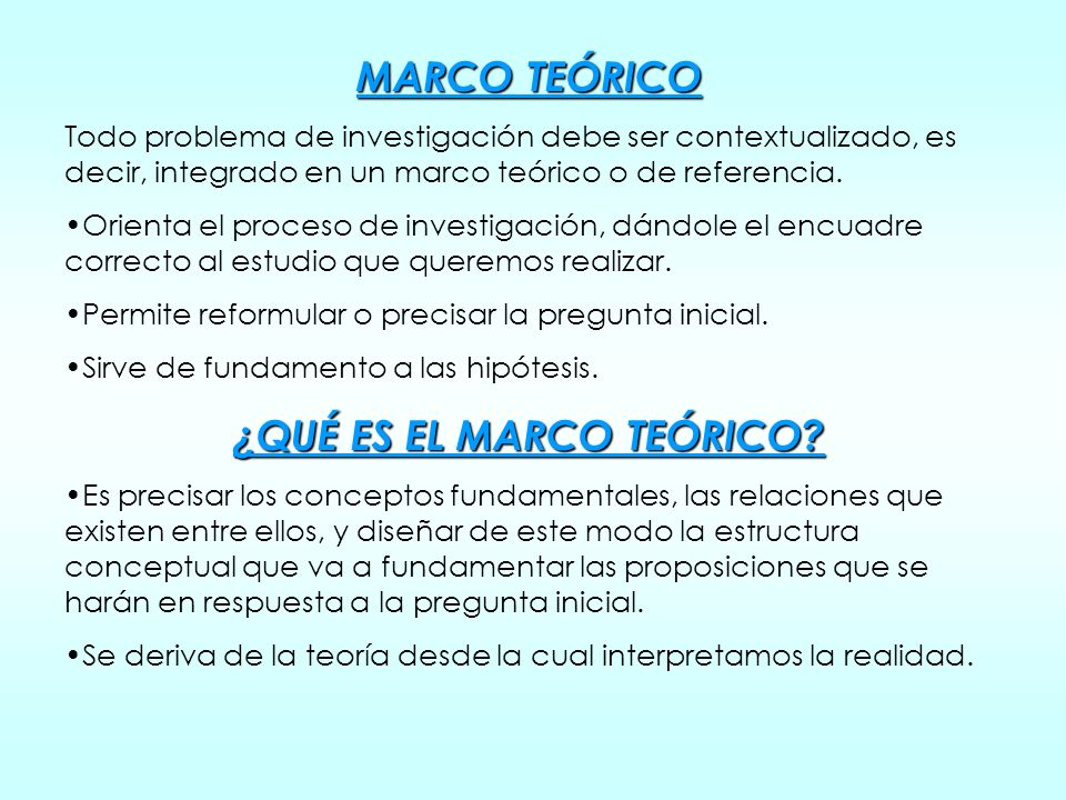 ¿QUÉ ES EL MARCO TEÓRICO