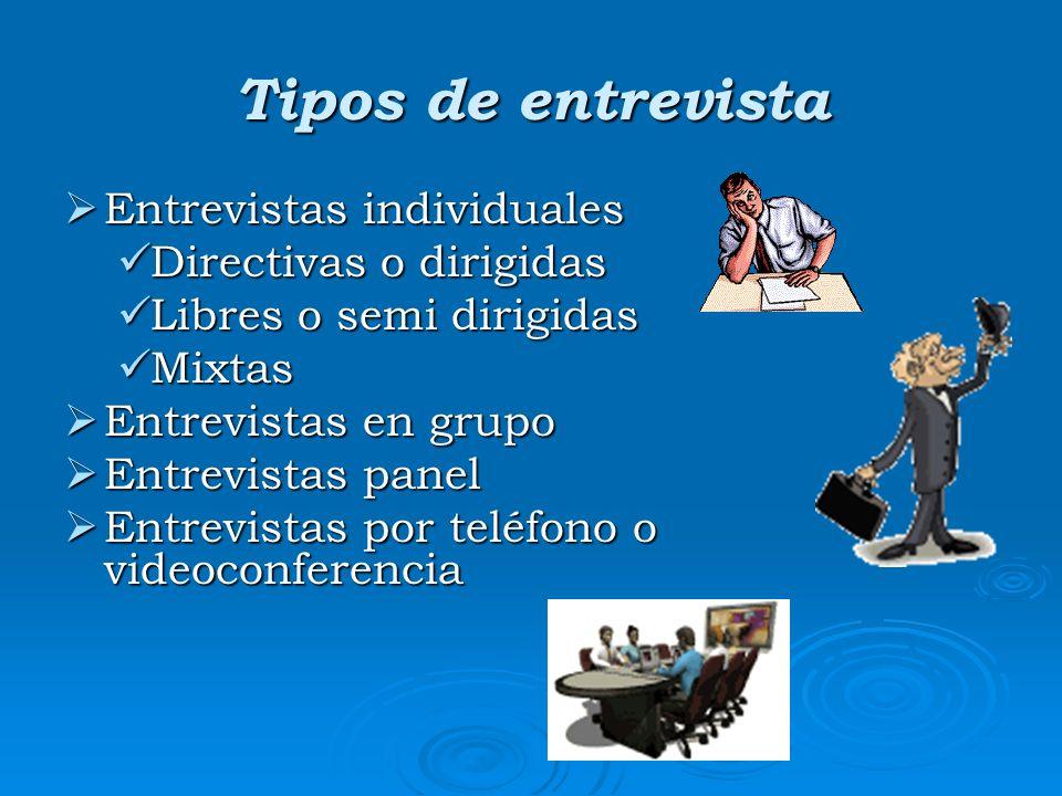 Tipos de entrevista Entrevistas individuales Directivas o dirigidas
