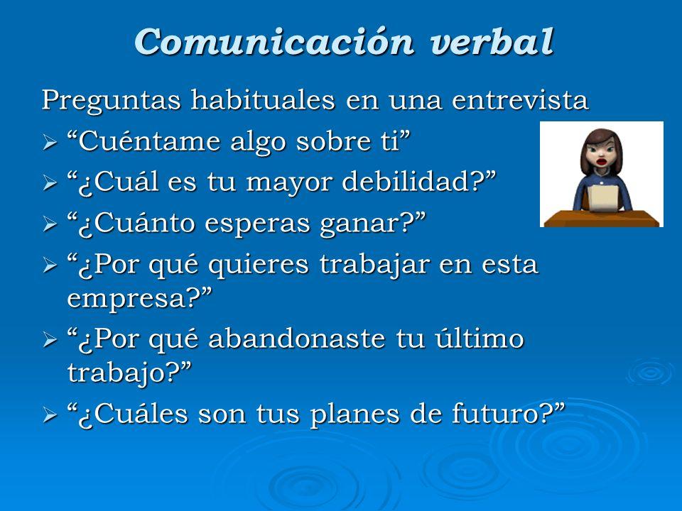 Comunicación verbal Preguntas habituales en una entrevista