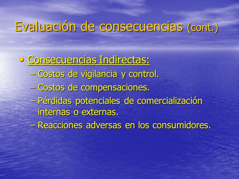 Evaluación de consecuencias (cont.)
