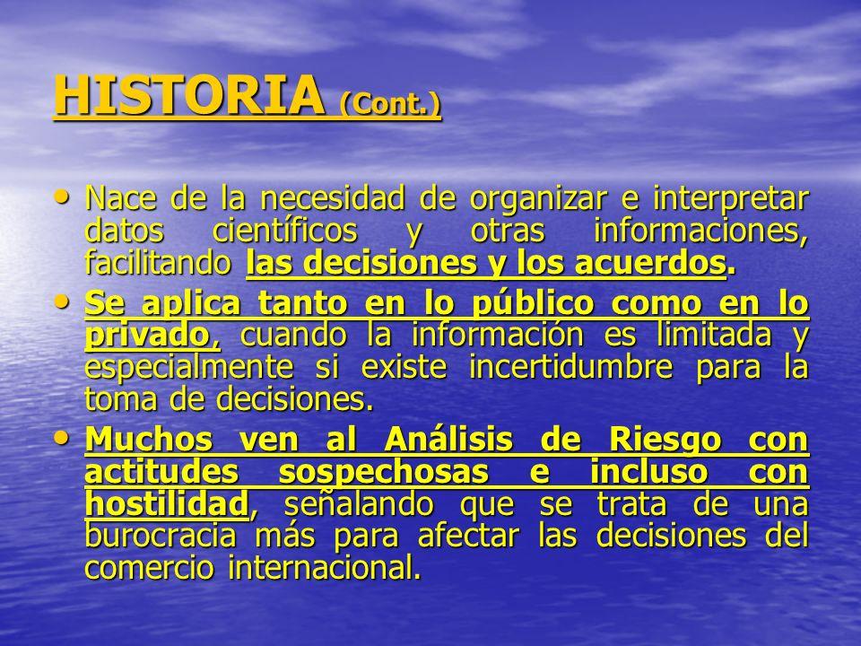HISTORIA (Cont.) Nace de la necesidad de organizar e interpretar datos científicos y otras informaciones, facilitando las decisiones y los acuerdos.
