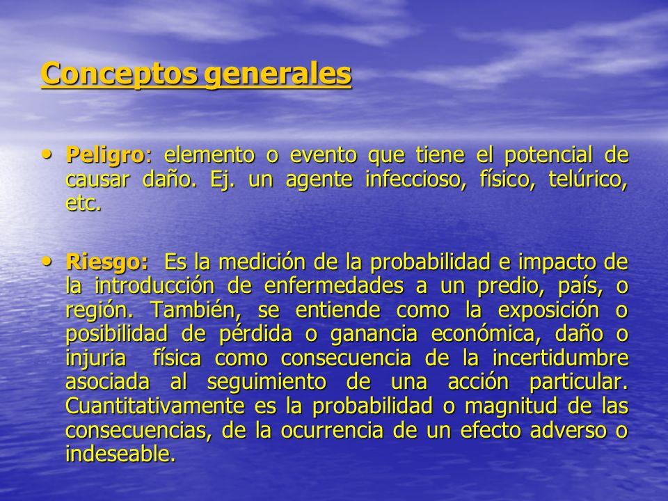 Conceptos generales Peligro: elemento o evento que tiene el potencial de causar daño. Ej. un agente infeccioso, físico, telúrico, etc.