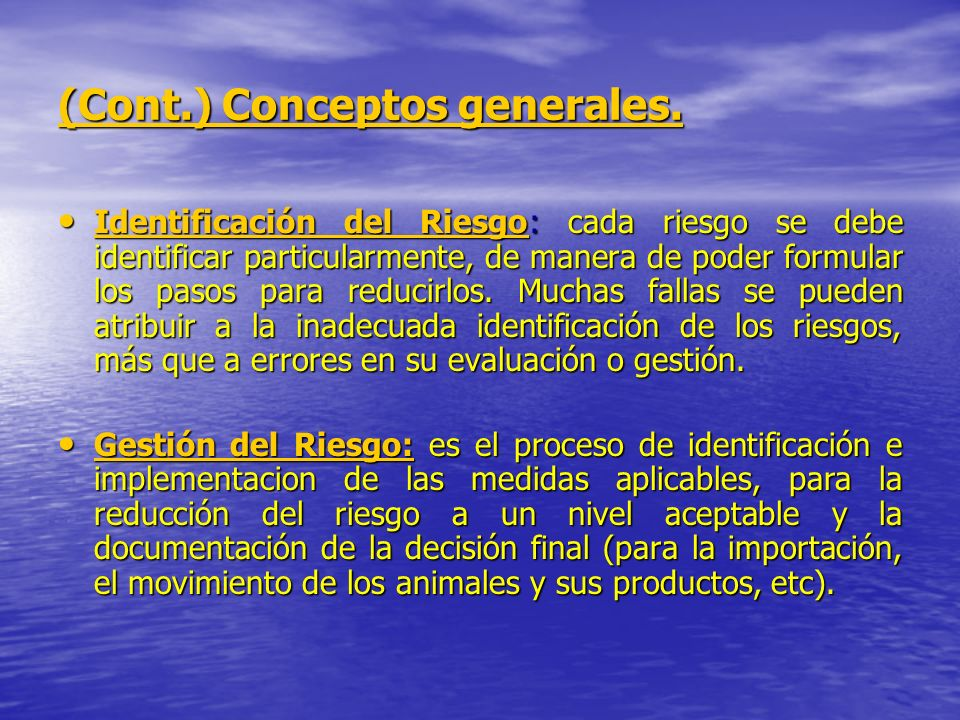(Cont.) Conceptos generales.