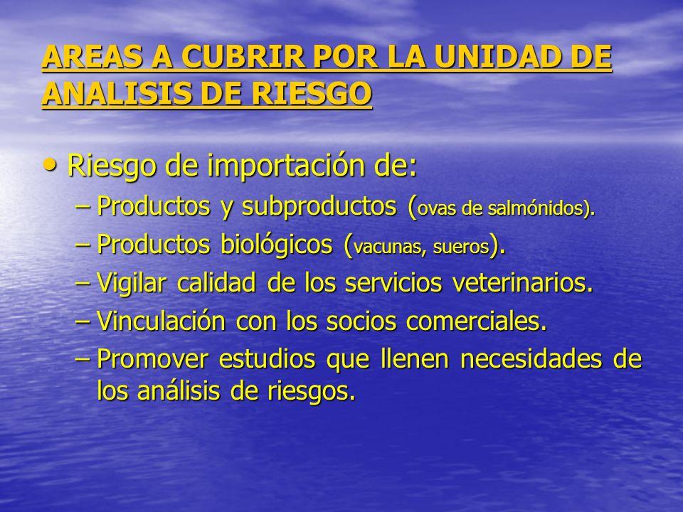 AREAS A CUBRIR POR LA UNIDAD DE ANALISIS DE RIESGO