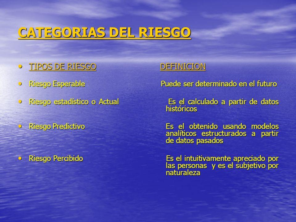 CATEGORIAS DEL RIESGO TIPOS DE RIESGO DEFINICION
