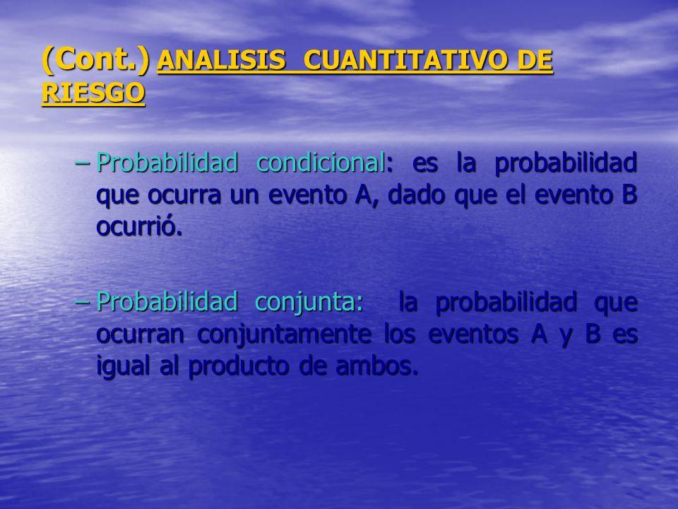 (Cont.) ANALISIS CUANTITATIVO DE RIESGO