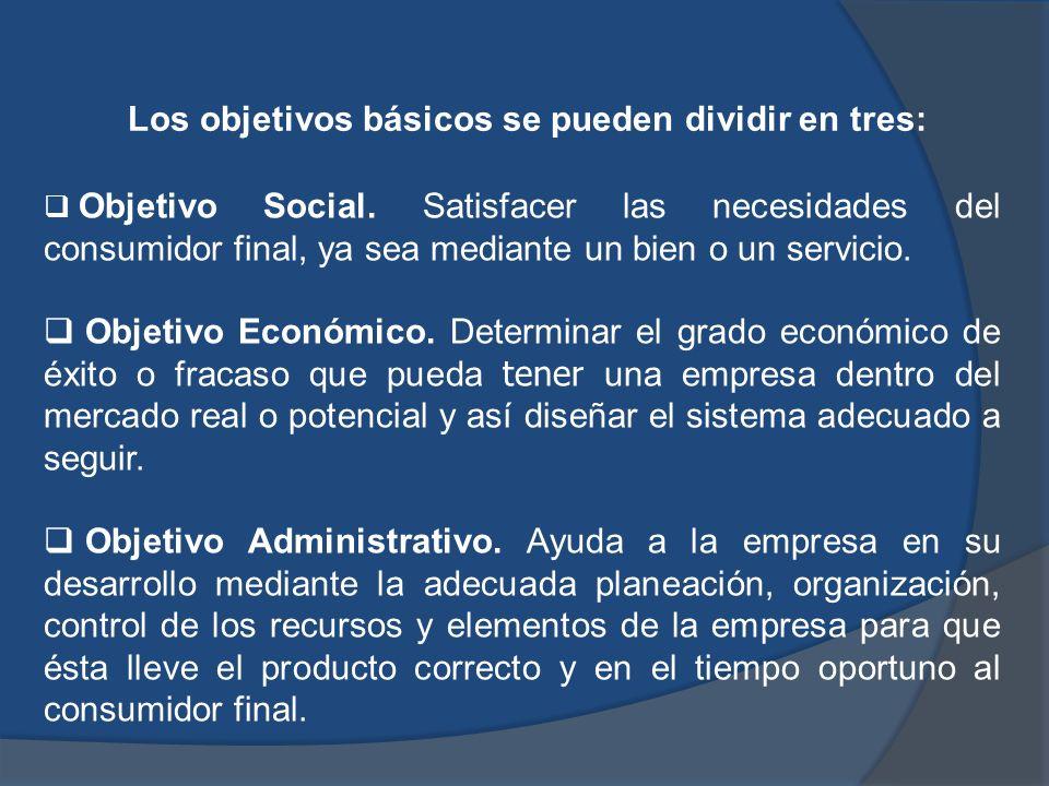 Los objetivos básicos se pueden dividir en tres: