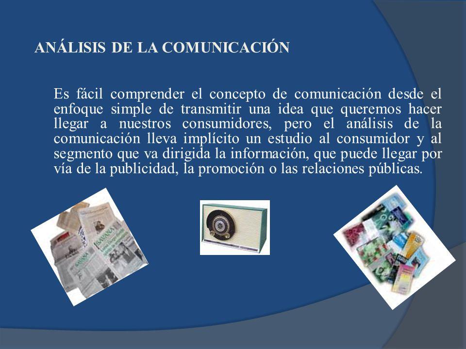 ANÁLISIS DE LA COMUNICACIÓN Es fácil comprender el concepto de comunicación desde el enfoque simple de transmitir una idea que queremos hacer llegar a nuestros consumidores, pero el análisis de la comunicación lleva implícito un estudio al consumidor y al segmento que va dirigida la información, que puede llegar por vía de la publicidad, la promoción o las relaciones públicas.