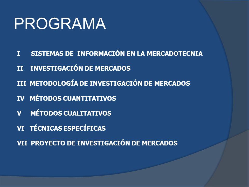 PROGRAMA I SISTEMAS DE INFORMACIÓN EN LA MERCADOTECNIA