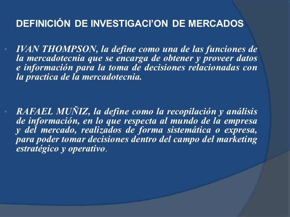 DEFINICIÓN DE INVESTIGACI'ON DE MERCADOS