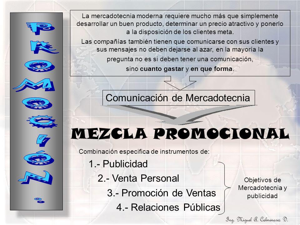PROMOCIÓN. MEZCLA PROMOCIONAL Comunicación de Mercadotecnia
