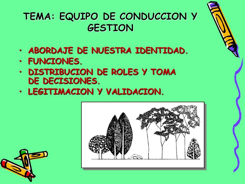 TEMA: EQUIPO DE CONDUCCION Y GESTION