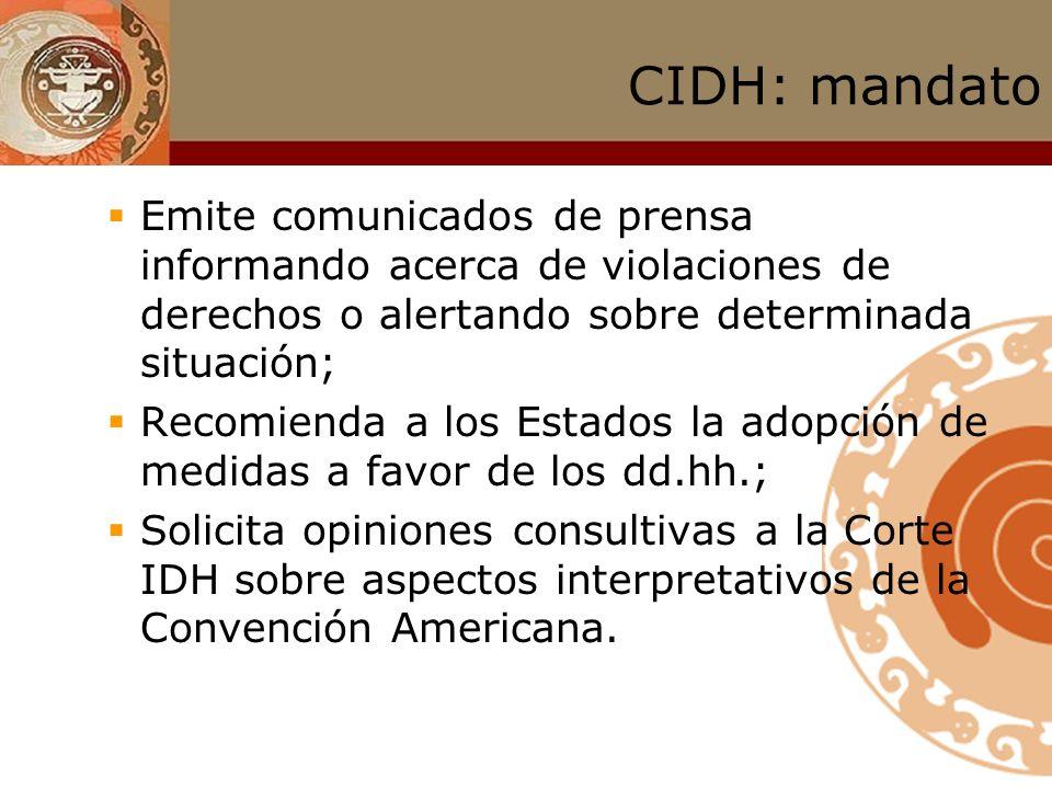 CIDH: mandato Emite comunicados de prensa informando acerca de violaciones de derechos o alertando sobre determinada situación;