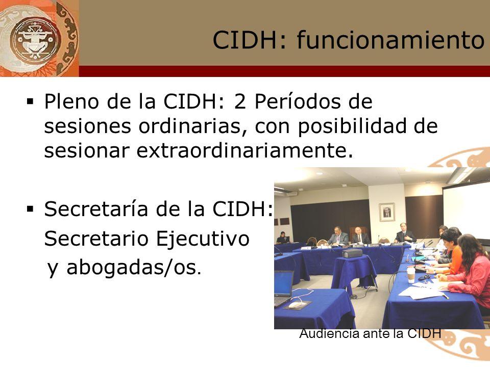 CIDH: funcionamiento Pleno de la CIDH: 2 Períodos de sesiones ordinarias, con posibilidad de sesionar extraordinariamente.