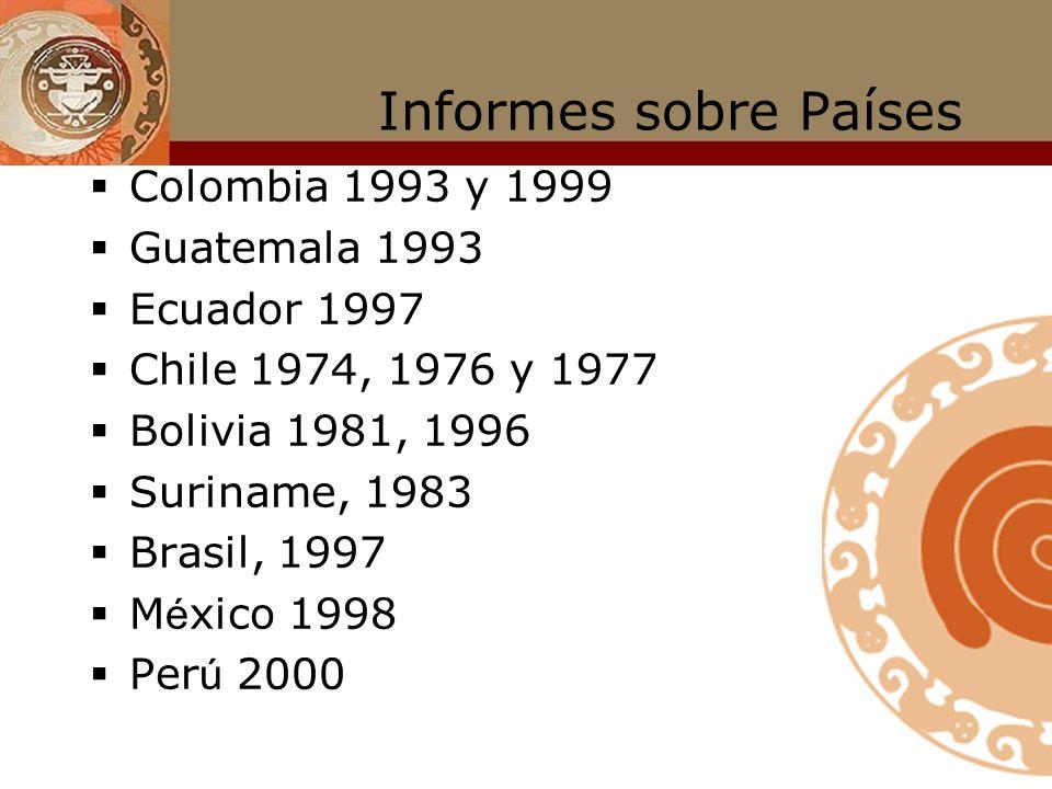 Informes sobre Países Colombia 1993 y 1999 Guatemala 1993 Ecuador 1997