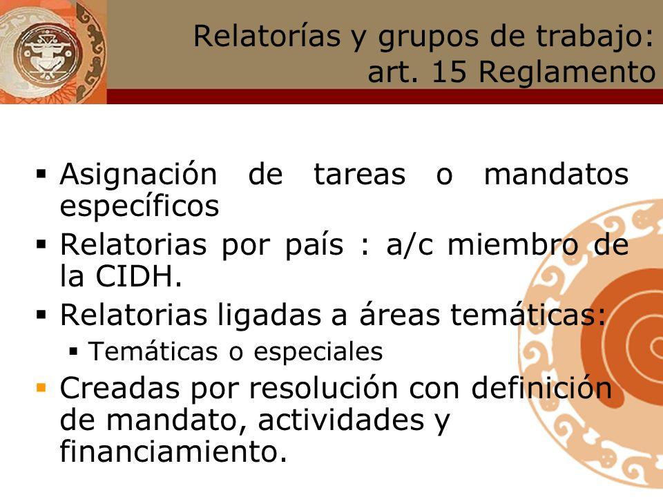 Relatorías y grupos de trabajo: art. 15 Reglamento