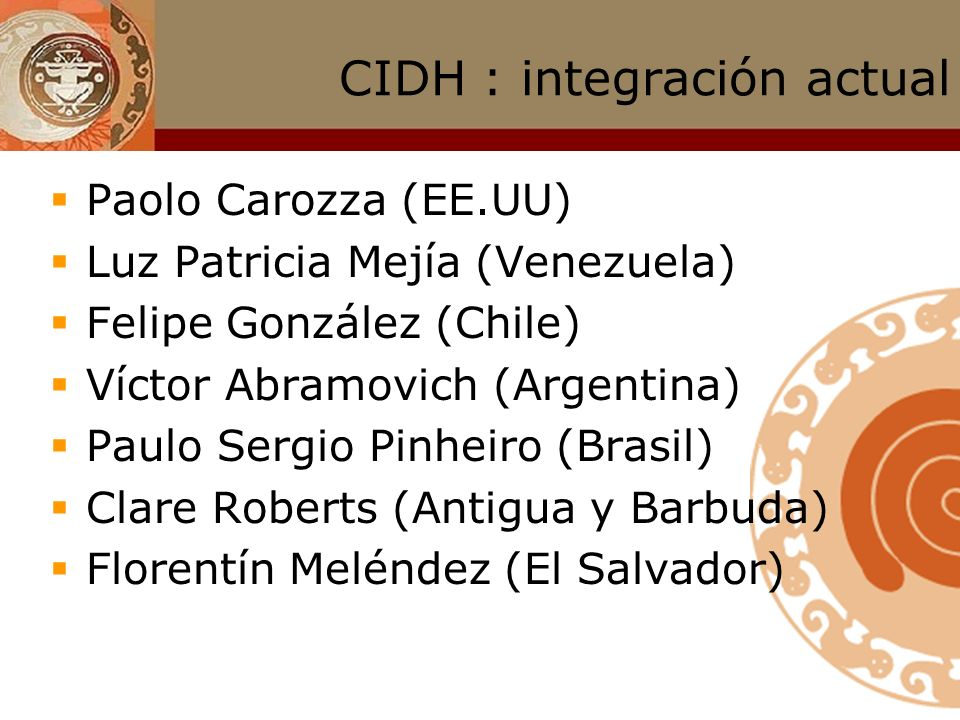 CIDH : integración actual