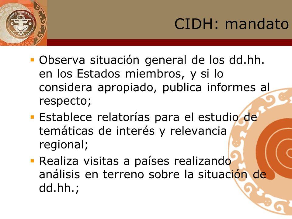 CIDH: mandato Observa situación general de los dd.hh. en los Estados miembros, y si lo considera apropiado, publica informes al respecto;