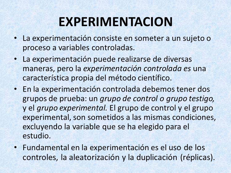 EXPERIMENTACION La experimentación consiste en someter a un sujeto o proceso a variables controladas.