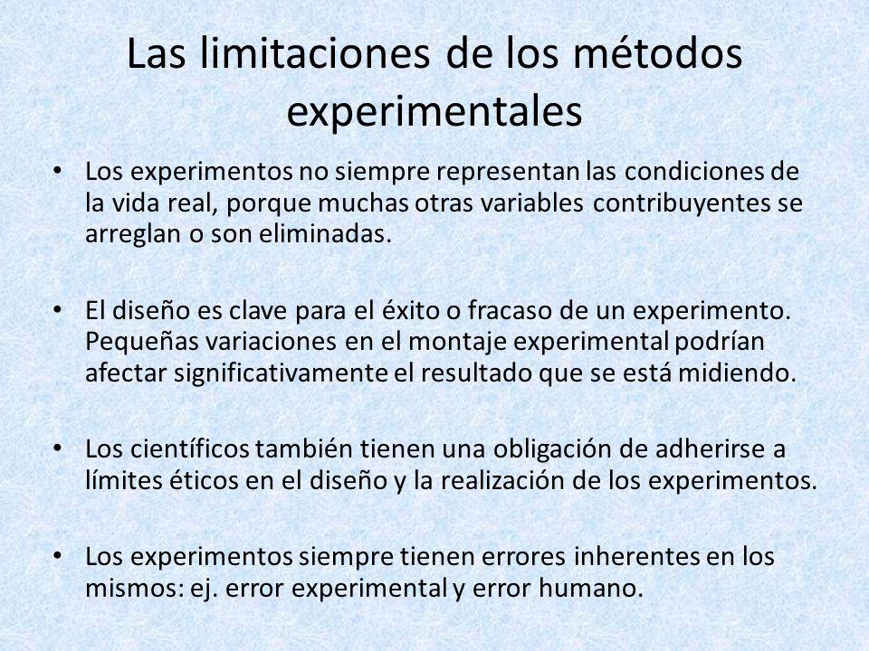Las limitaciones de los métodos experimentales