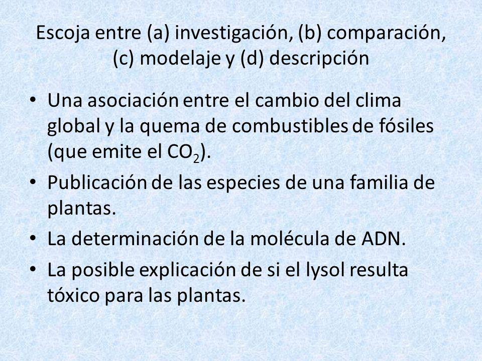 Escoja entre (a) investigación, (b) comparación, (c) modelaje y (d) descripción
