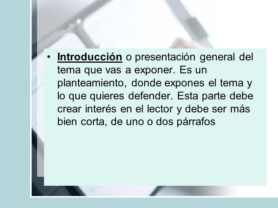 Introducción o presentación general del tema que vas a exponer