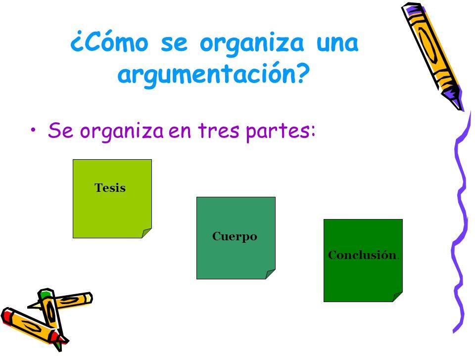 ¿Cómo se organiza una argumentación
