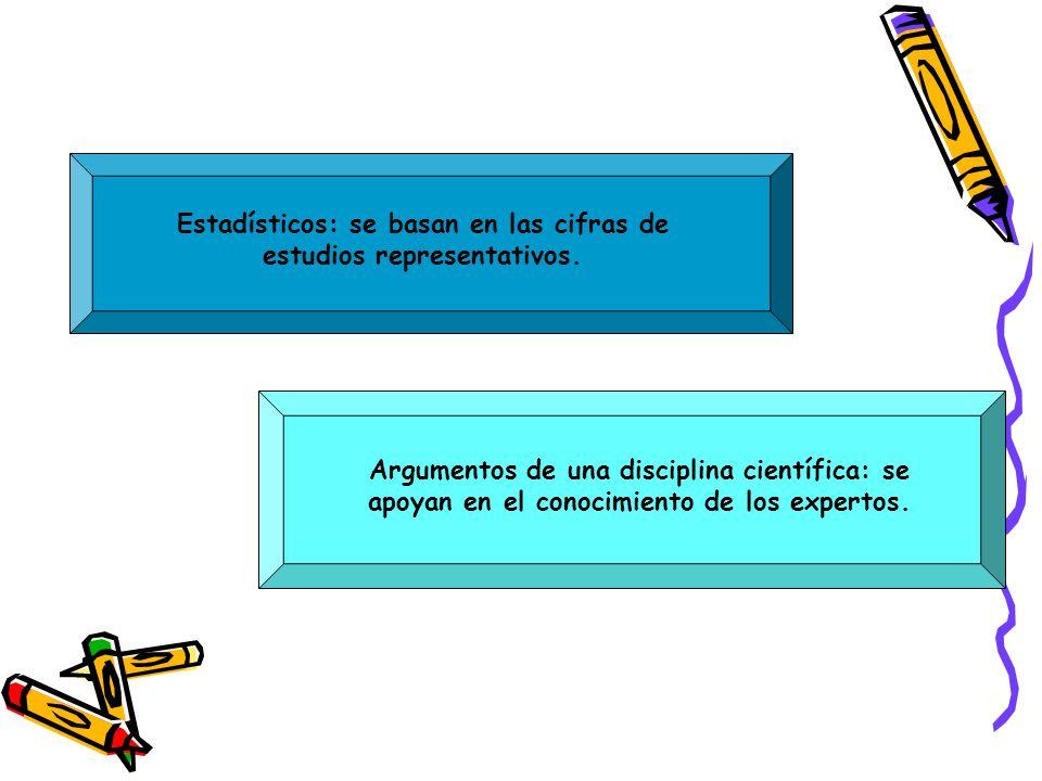 Estadísticos: se basan en las cifras de estudios representativos.