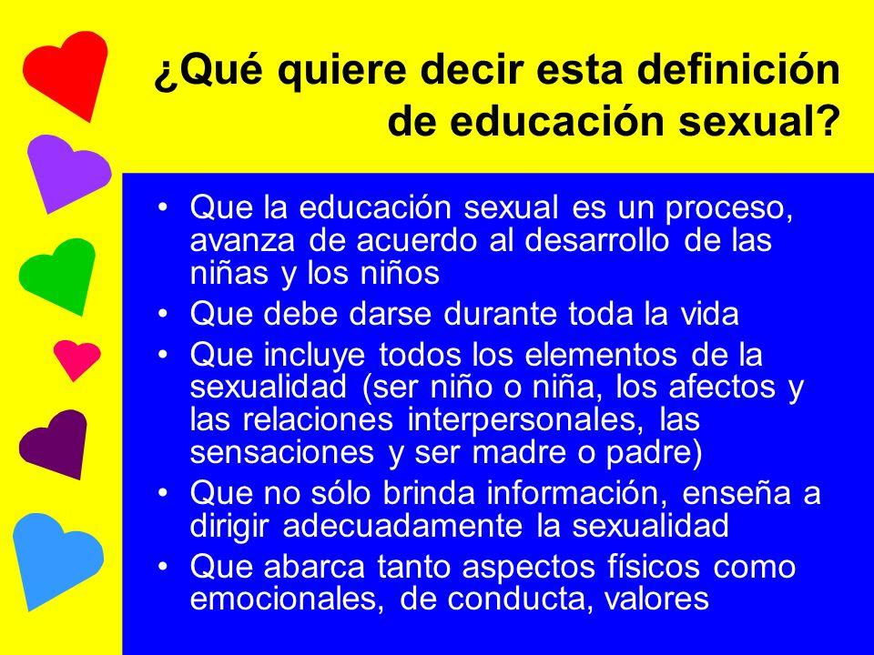¿Qué quiere decir esta definición de educación sexual