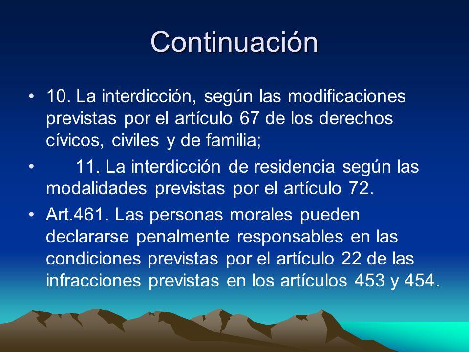 Continuación 10. La interdicción, según las modificaciones previstas por el artículo 67 de los derechos cívicos, civiles y de familia;