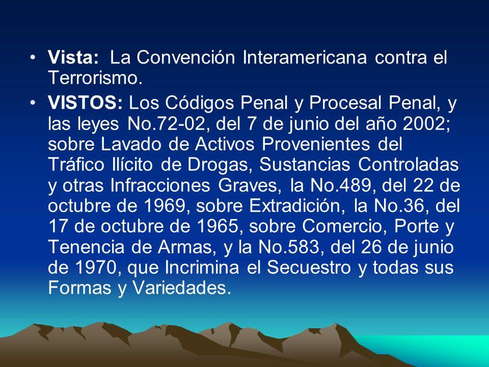 Vista: La Convención Interamericana contra el Terrorismo.