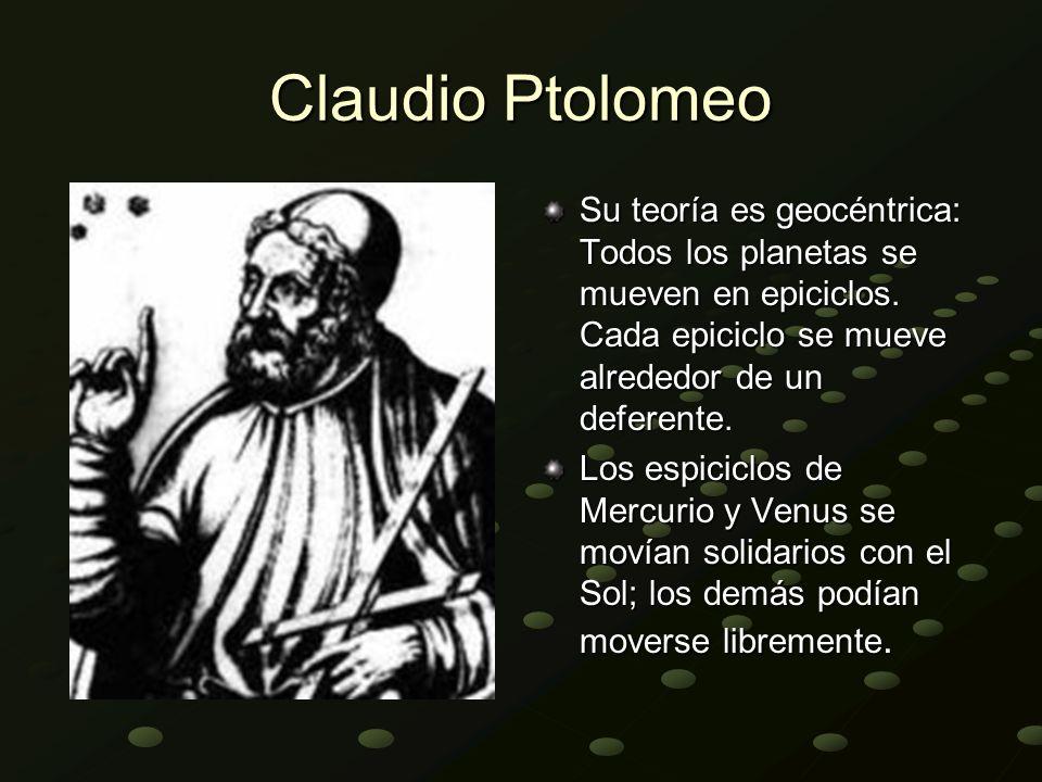 Claudio Ptolomeo Su teoría es geocéntrica: Todos los planetas se mueven en epiciclos. Cada epiciclo se mueve alrededor de un deferente.