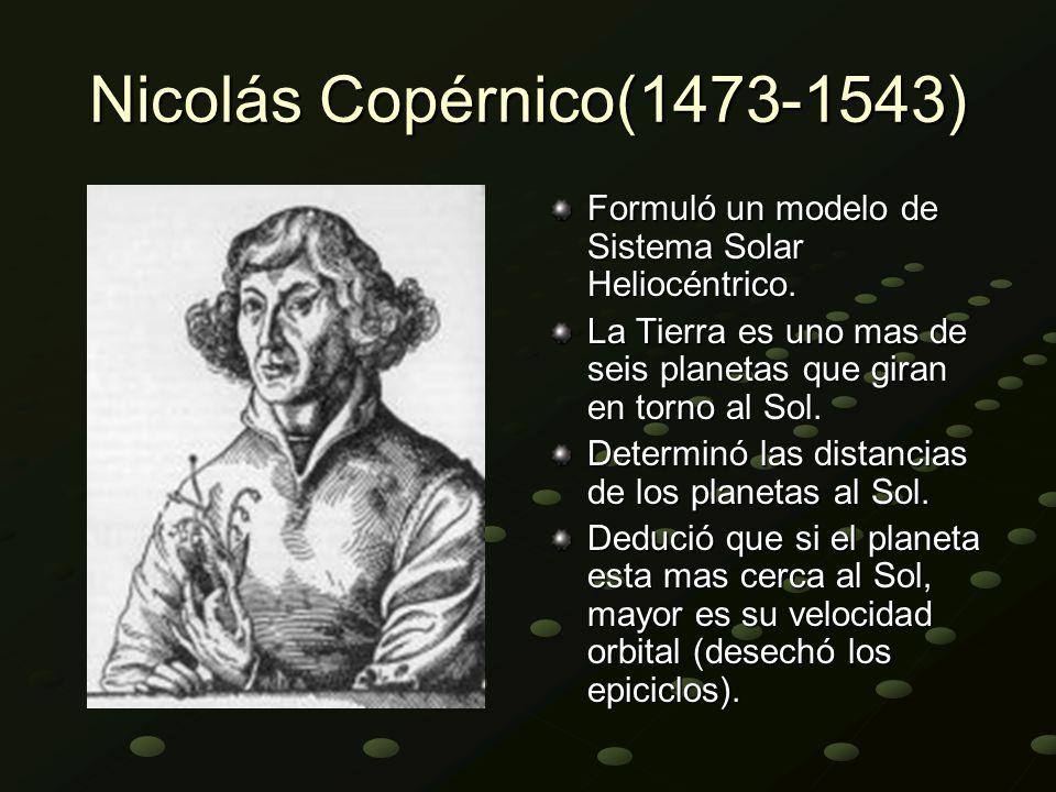 Nicolás Copérnico(1473-1543) Formuló un modelo de Sistema Solar Heliocéntrico. La Tierra es uno mas de seis planetas que giran en torno al Sol.
