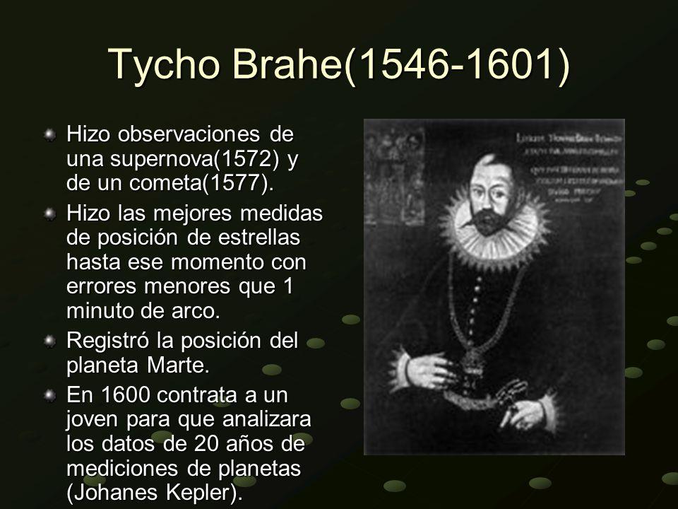 Tycho Brahe(1546-1601) Hizo observaciones de una supernova(1572) y de un cometa(1577).