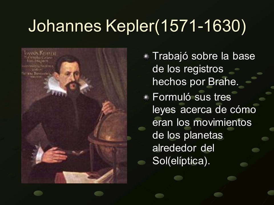Johannes Kepler(1571-1630) Trabajó sobre la base de los registros hechos por Brahe.
