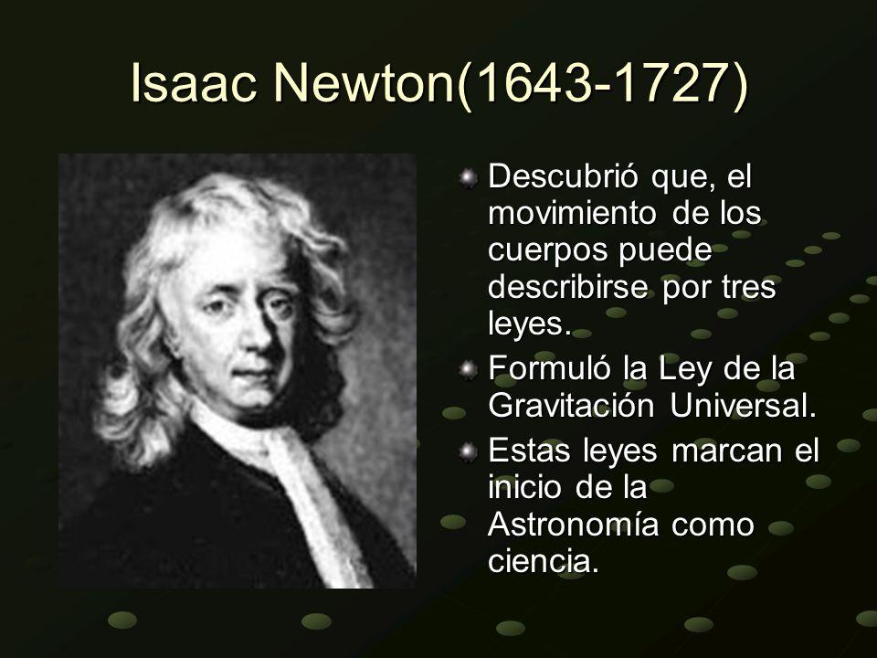 Isaac Newton(1643-1727) Descubrió que, el movimiento de los cuerpos puede describirse por tres leyes.
