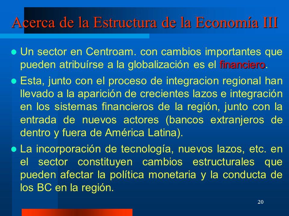 Acerca de la Estructura de la Economía III