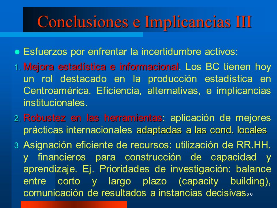 Conclusiones e Implicancias III