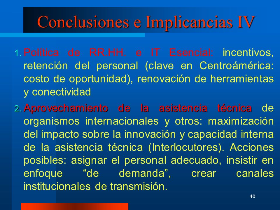 Conclusiones e Implicancias IV