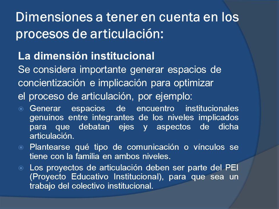 Dimensiones a tener en cuenta en los procesos de articulación:
