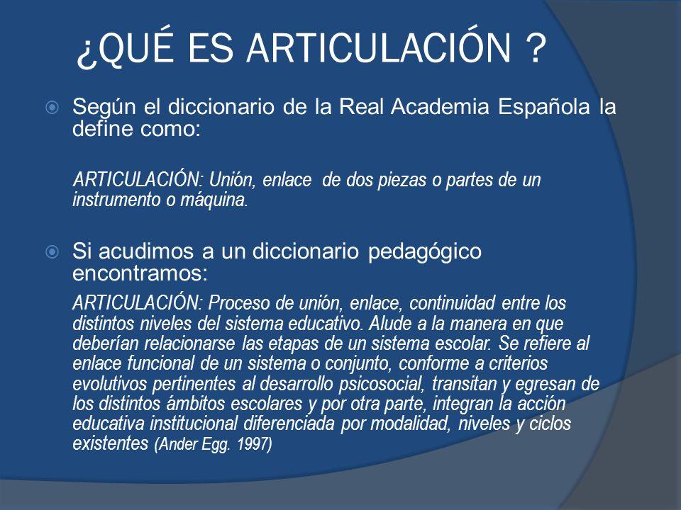 ¿QUÉ ES ARTICULACIÓN Según el diccionario de la Real Academia Española la define como:
