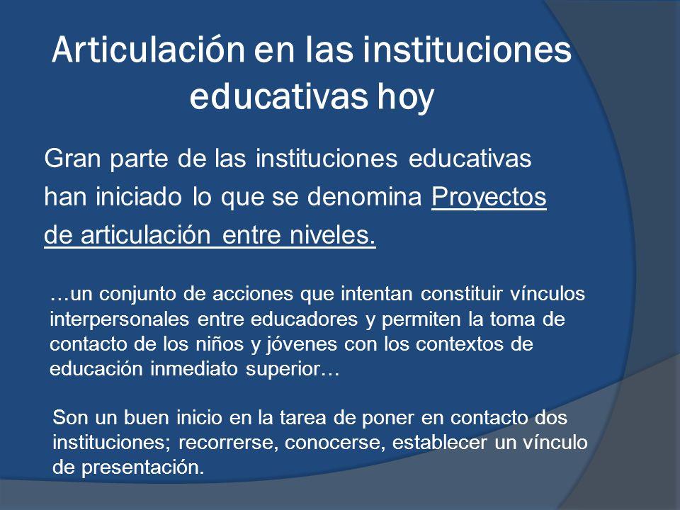 Articulación en las instituciones educativas hoy