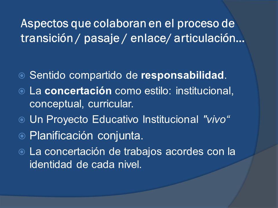 Aspectos que colaboran en el proceso de transición / pasaje / enlace/ articulación…