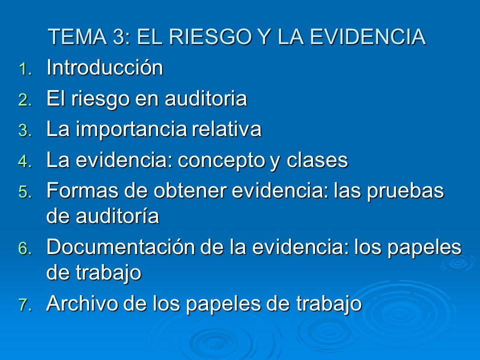 TEMA 3: EL RIESGO Y LA EVIDENCIA