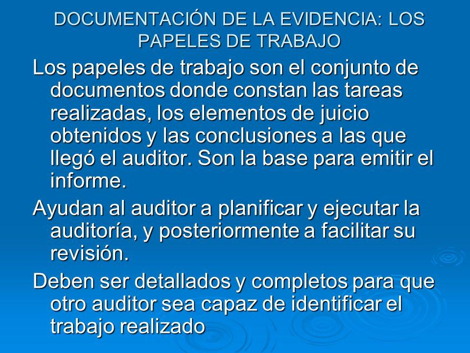 DOCUMENTACIÓN DE LA EVIDENCIA: LOS PAPELES DE TRABAJO