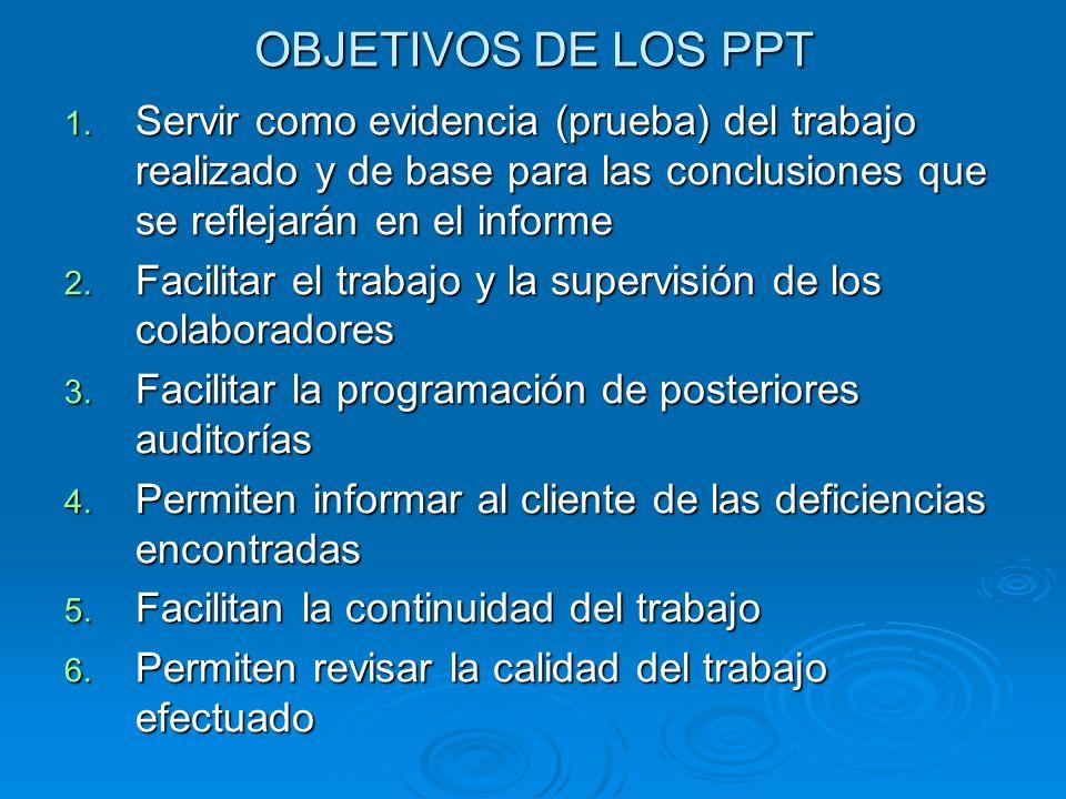 OBJETIVOS DE LOS PPT Servir como evidencia (prueba) del trabajo realizado y de base para las conclusiones que se reflejarán en el informe.