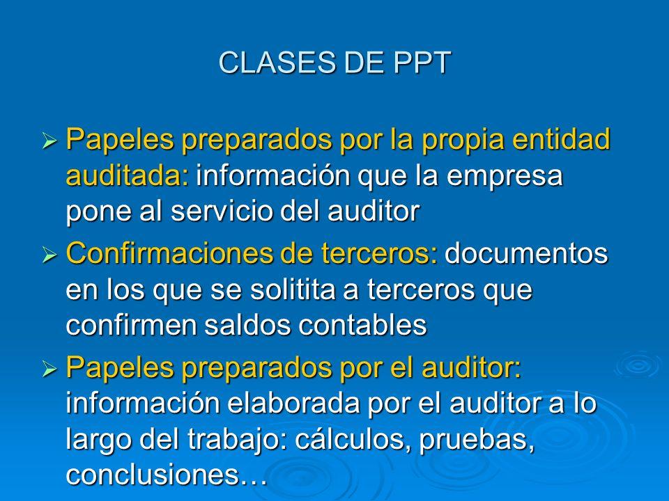 CLASES DE PPT Papeles preparados por la propia entidad auditada: información que la empresa pone al servicio del auditor.