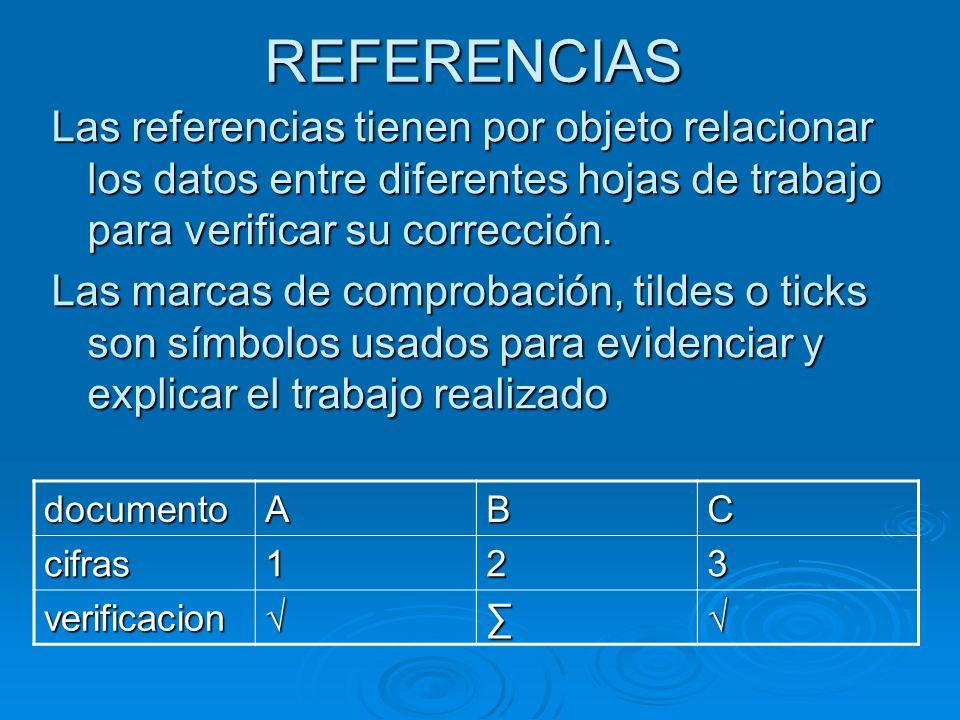 REFERENCIAS Las referencias tienen por objeto relacionar los datos entre diferentes hojas de trabajo para verificar su corrección.