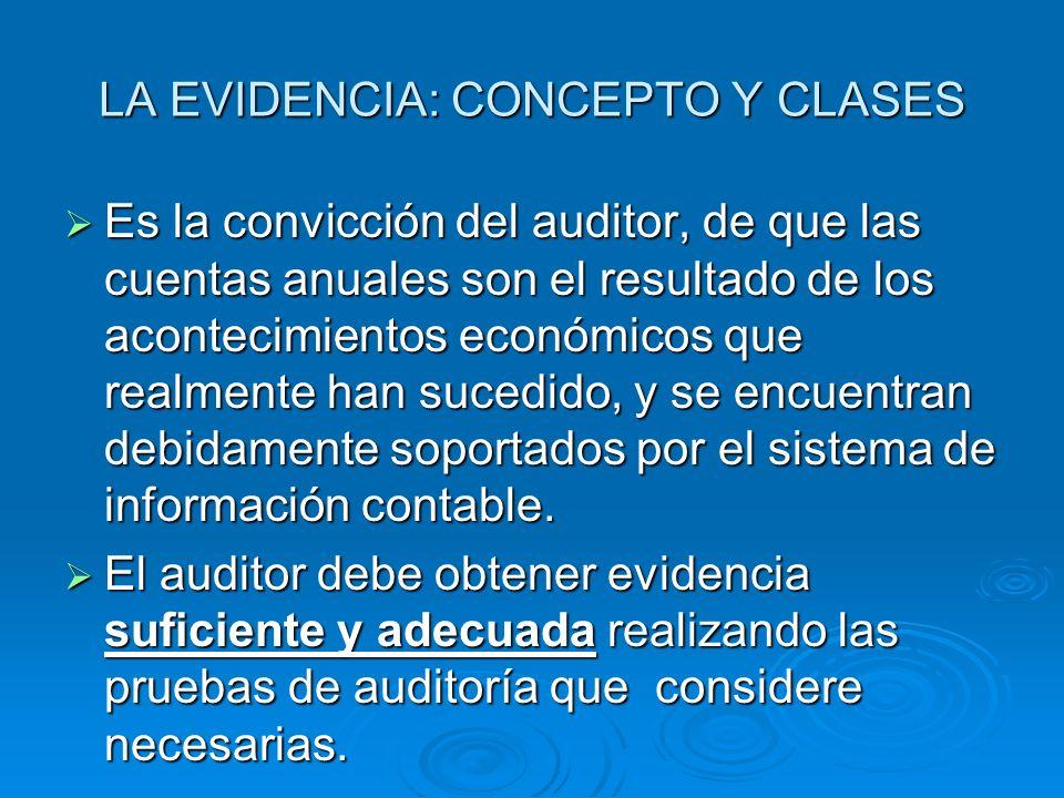LA EVIDENCIA: CONCEPTO Y CLASES